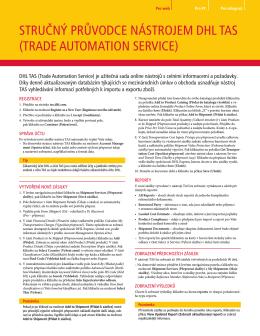 Referenční příručka služeb DHL Trade Automation Services
