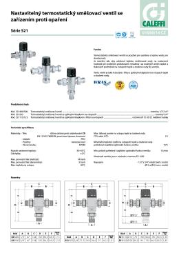 Nastavitelný termostatický směšovací ventil se zařízením proti opaření