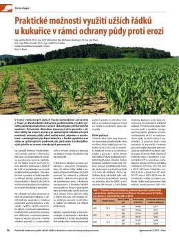 Praktické možnosti využití užších řádků u kukuřice v rámci