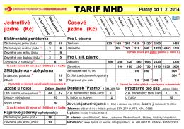 TARIF MHD