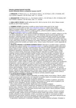 PRAVIDLA MARKETINGOVÉ SOUTĚŽE Soutěž s Mitsubishi Motors