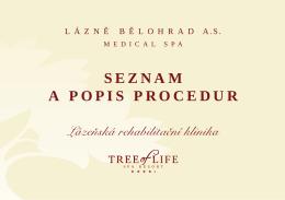 SEZNAM A POPIS PROCEDUR - Anenské slatinné lázně