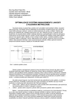 optimalizace systému managementu jakosti z hlediska metrologie
