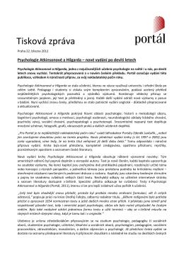 Tisková zpráva - 22.3.2012 - Psychologie Atkinsonové a