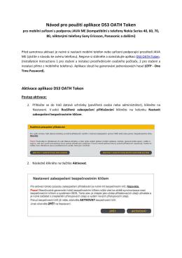 Návod pro použití aplikace DS3 OATH Token