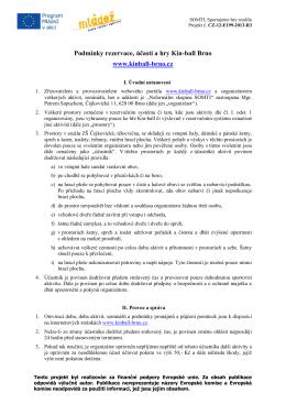 Podmínky rezervace, účasti a hry Kin-ball Brno www.kinball