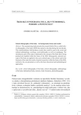 školská etnografia tela, jej východiská, podoby a potenciály1