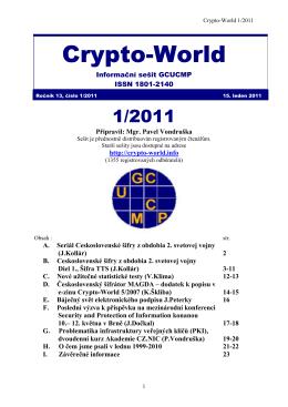 Crypto-World 1/2011 - Personal page: Vlastimil Klima