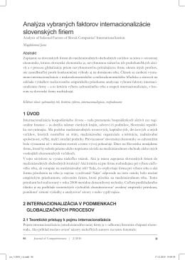 Analýza vybraných faktorov internacionalizácie slovenských firiem