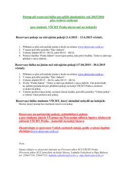 Postup rezervace lůžka přes webové rozhraní (rezervace pokoje na