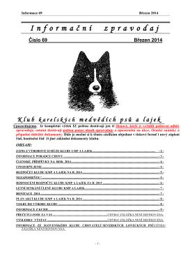 březen 2014 - Klub karelských medvědích psů a lajek Praha