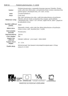 DUM 16 Pololetní písemná práce – 5. ročník