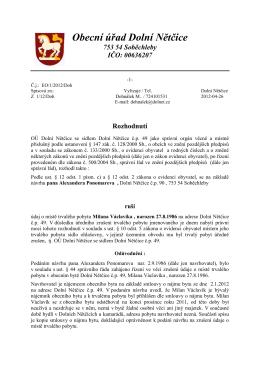 Rozhodnutí - Obec Dolní Nětčice