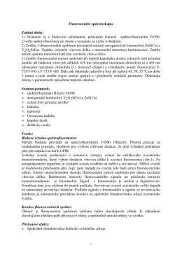 Fluorescenční spektroskopie Zadání úlohy: 1) Seznamte se s
