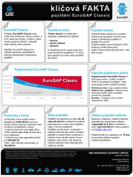 Klíčová fakta pojištění EuroGap Classic