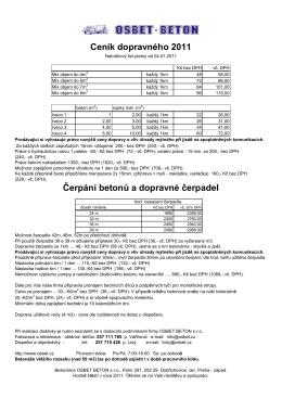 Ceník dopravného 2011 Čerpání betonů a dopravné