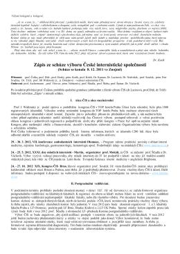 Zápis ze dne 8. 12. 2011, Znojmo