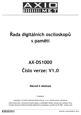 Řada digitálních osciloskopů s pamětí AX-DS1000 Číslo