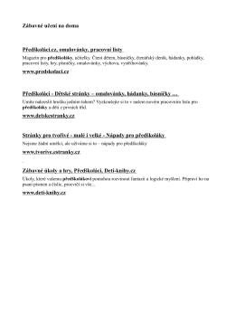 Zábavné učení na doma Předškoláci.cz, omalovánky, pracovní listy