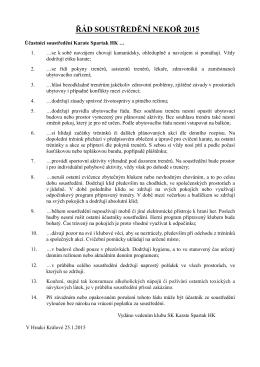 řád soustředdění - SK Karate Spartak Hradec Králové