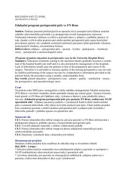 Edukační program perioperační péče ve FN Brno Jedličková, J