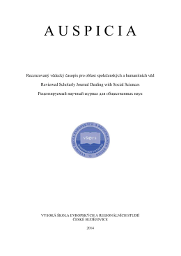Recenzovaný časopis pro otázky společenských věd Auspicia 2014/3