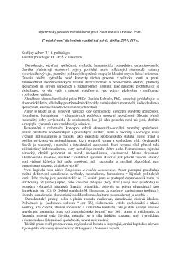 Oponentský posudek na habilitační práci PhDr.Daniela Dobiaše