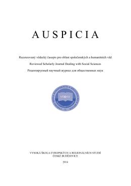 Recenzovaný časopis pro otázky společenských věd Auspicia 2014/2