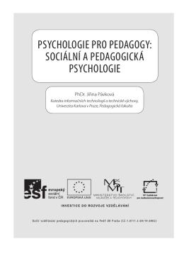 sociální a Pedagogická Psychologie