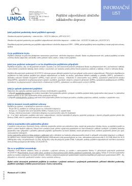Informační list pojištění odpovědnosti silničního nákladového