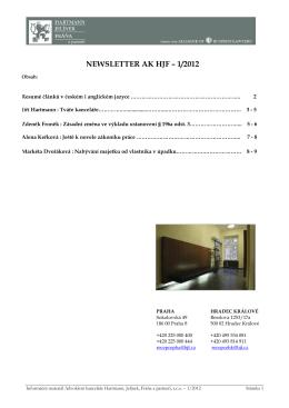 Newsletter HJF č. I/2012 - Advokátní kancelář Hartmann, Jelínek