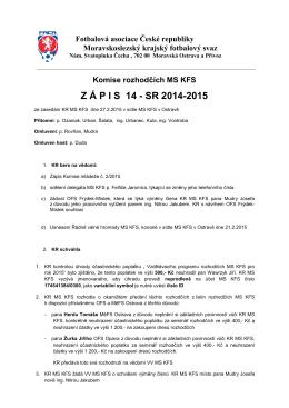 Zápis KR č.14 - Rozhodčí MS KFS