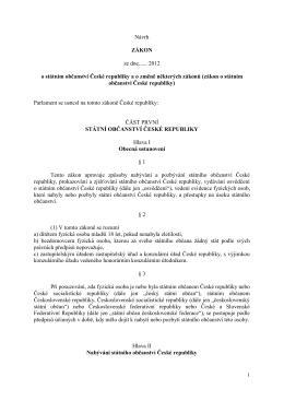 Znění návrhu novely zákona o státním občanství