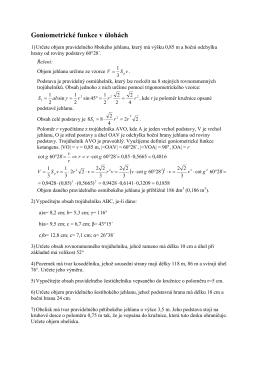 Goniometrické funkce v úlohách ( )