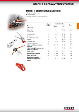 Dělení a příprava trubek/potrubí