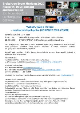 Pozvánka s programem 2.9.2014 Ostrava