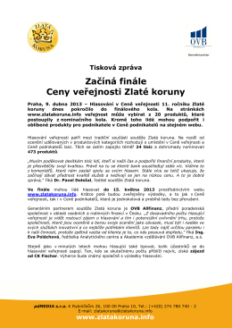 9. 4. 2013 Tisková zpráva: Začíná finále hlasování o