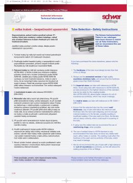 volba trubek – bezpečnostní upozornění Tube