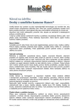 Návod - údržba desek Hanex