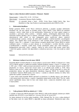 Zápis ze schůze SRGH ze dne 2. dubna 2014