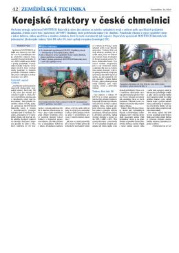 Korejské traktory v české chmelnici
