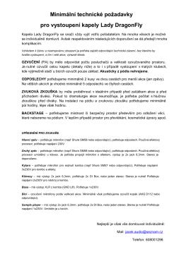 Minimální technické požadavky pro vystoupení kapely Lady DragonFly