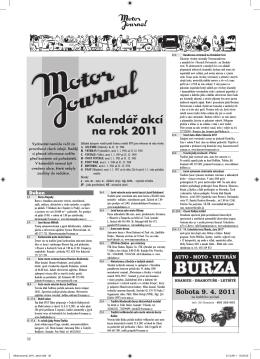 Kalendář akcí na rok 2011