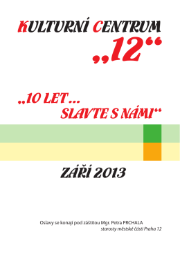 """Katalog KC """"12"""" - """"10 let Slavte s námi"""""""