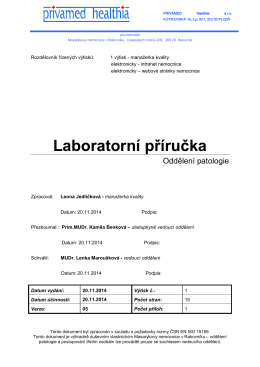 Laboratorní příručka - Masarykova nemocnice v Rakovníku