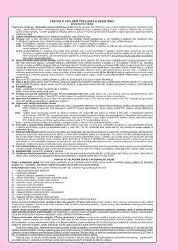 POKYNY k vyplnění přihlášky k registraci pro právnické osoby