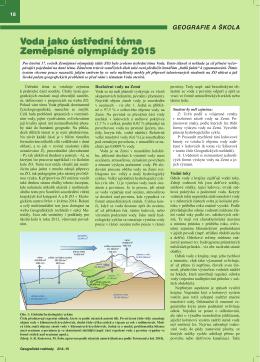 Voda jako ústřední téma Zeměpisné olympiády 2015