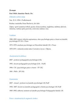 Životopis Prof. PhDr. Stanislav Štech, CSc. Základní osobní údaje