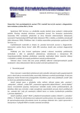 Stanovisko Unie psychologických asociací ČR k metodě barvových