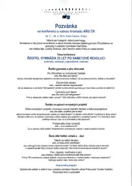 Pozvánka - Asociace ředitelů gymnázií České republiky